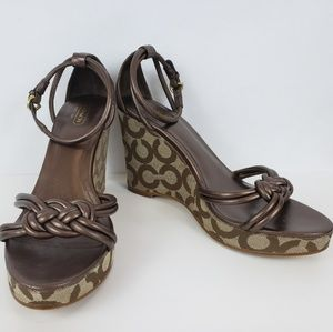 Coach Kinsey Brown and Tan Wedges Size 8